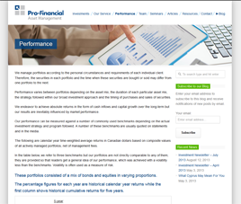 Pro-Financial - Private Client - Performance